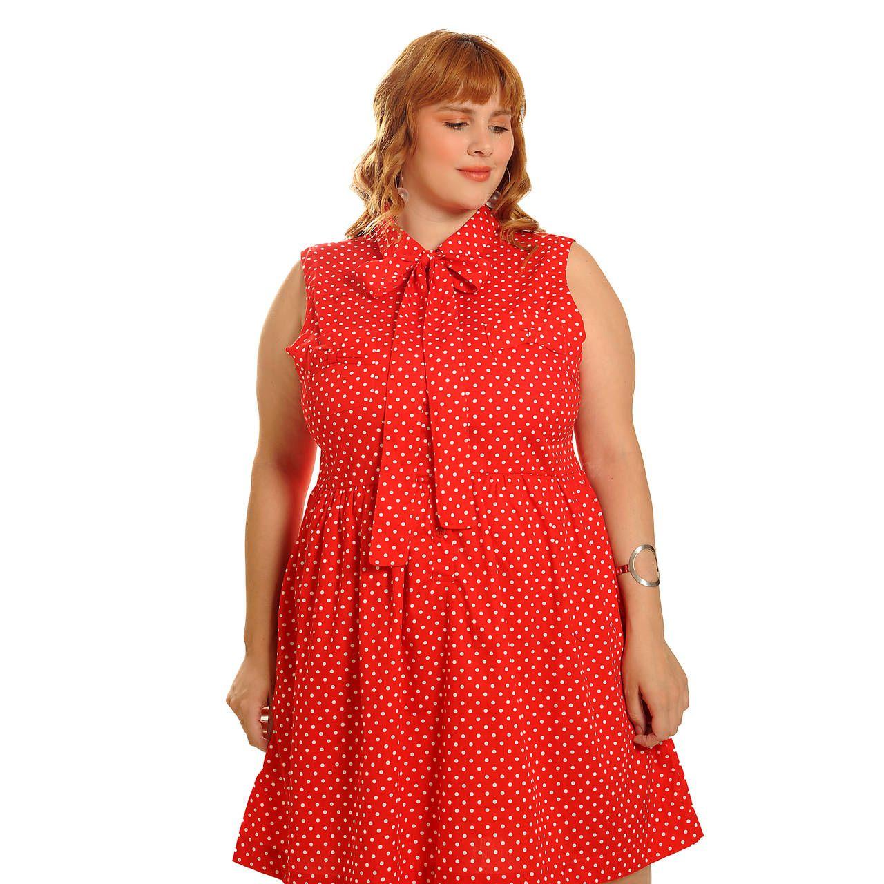 Vestido Lady Like Vintage Poá Vermelho Plus Size