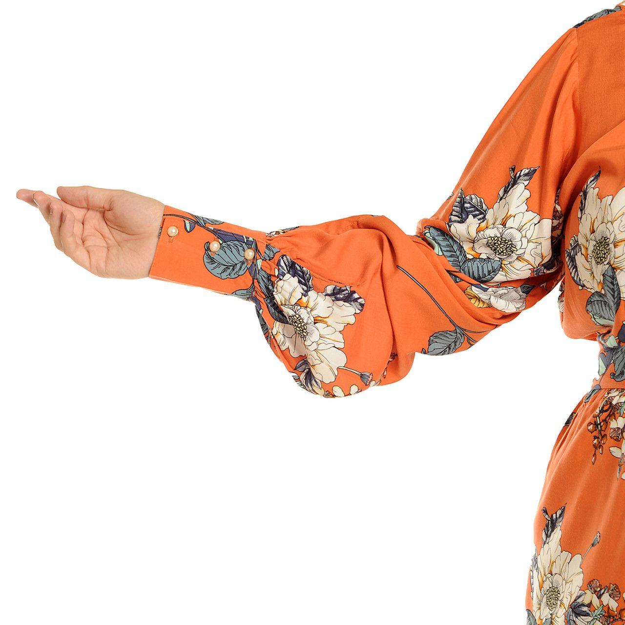 Vestido Manga Longa Midi com Laço Plus Size Laranja