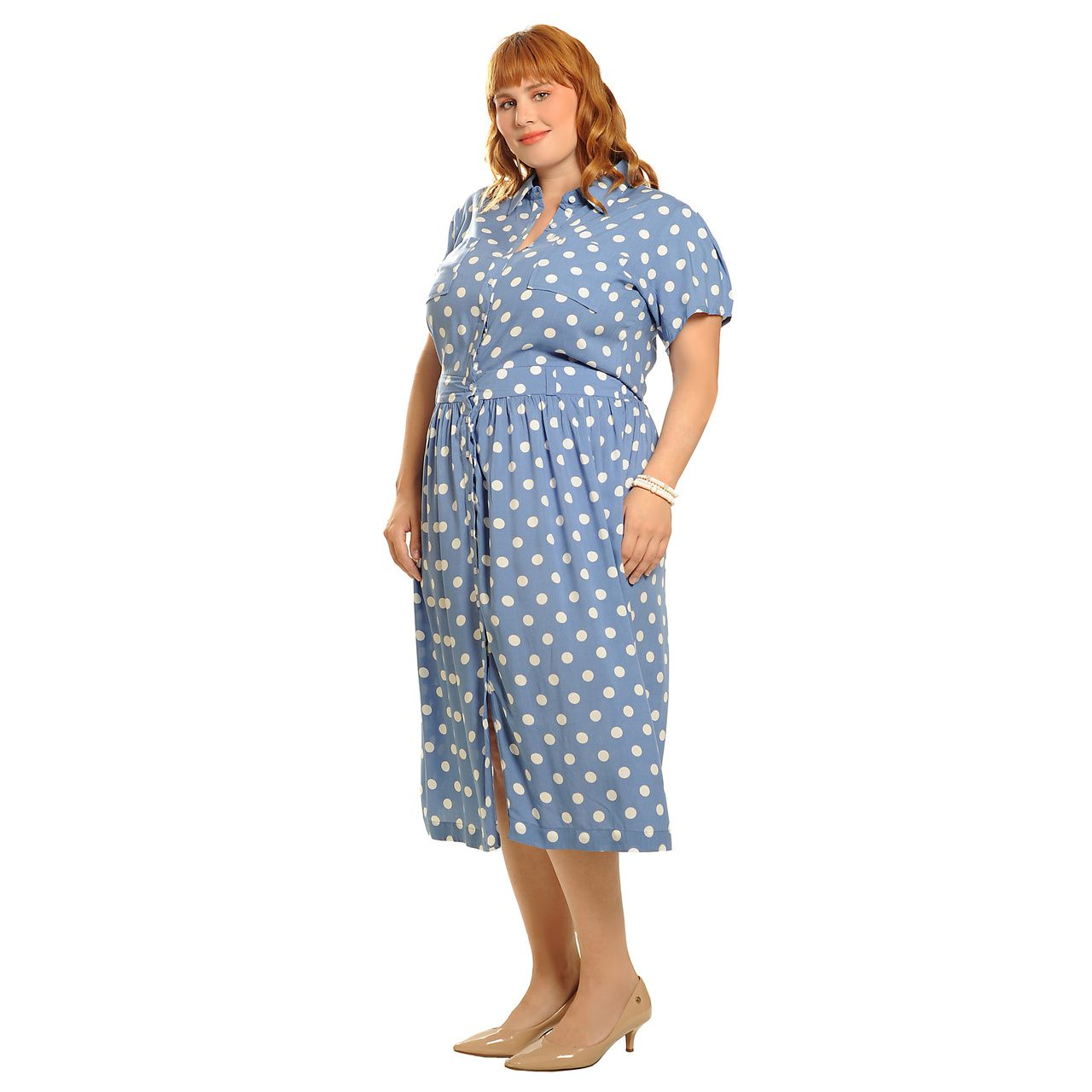 Vestido poá midi manga curta azul plus size