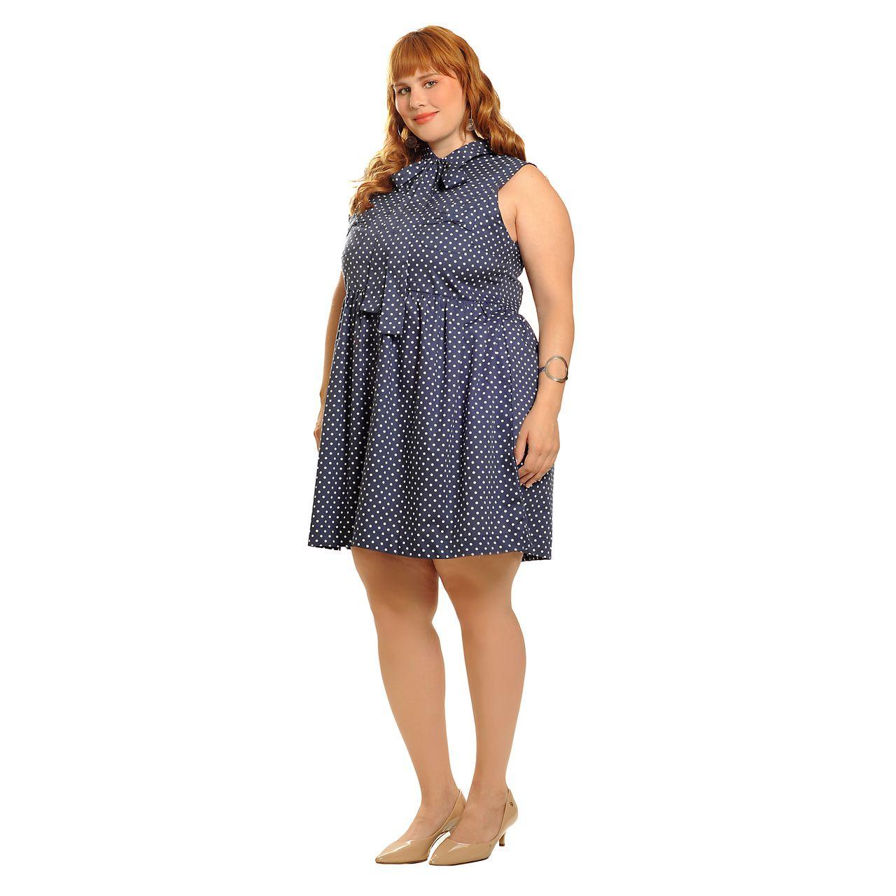 Vestido poá vintage azul plus size