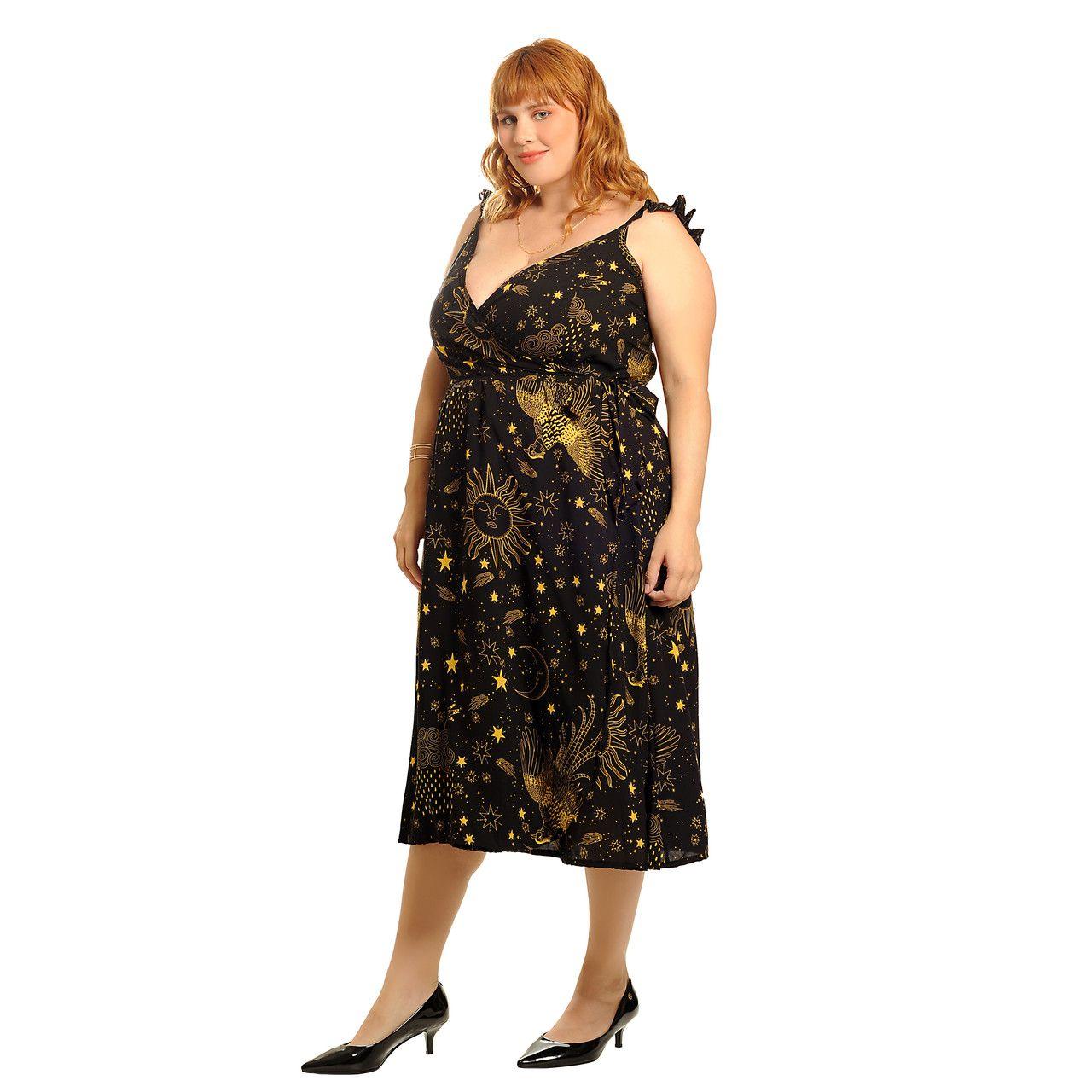 Vestido transpassado cosmic preto plus size
