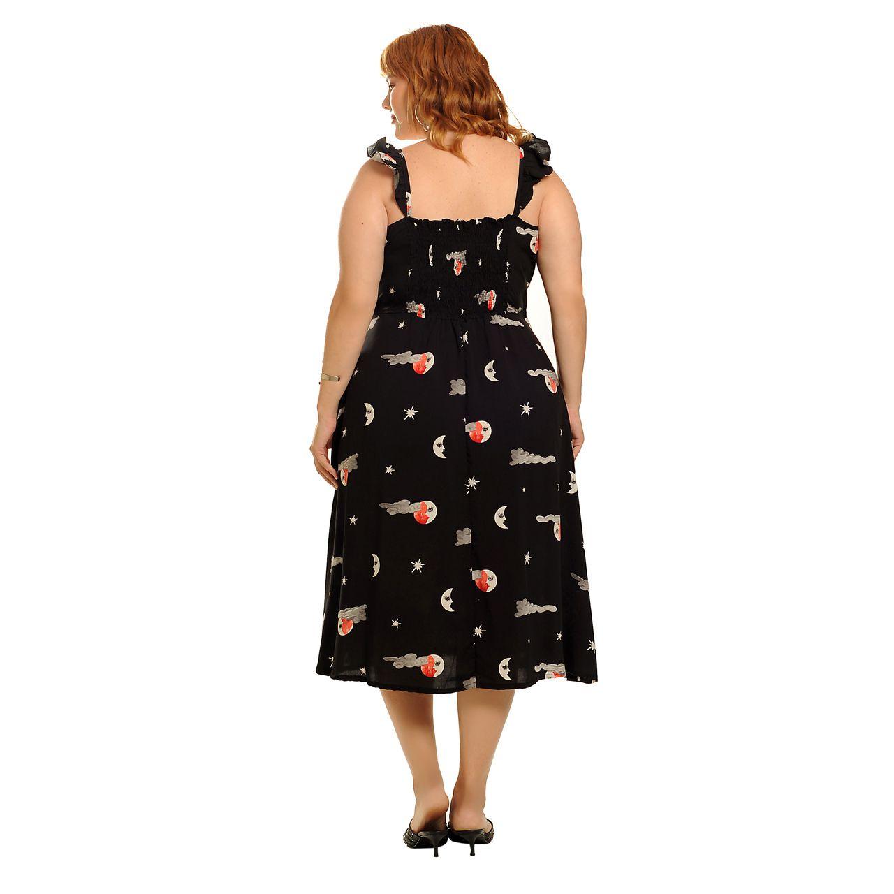 Vestido transpassado sol & lua preto plus size
