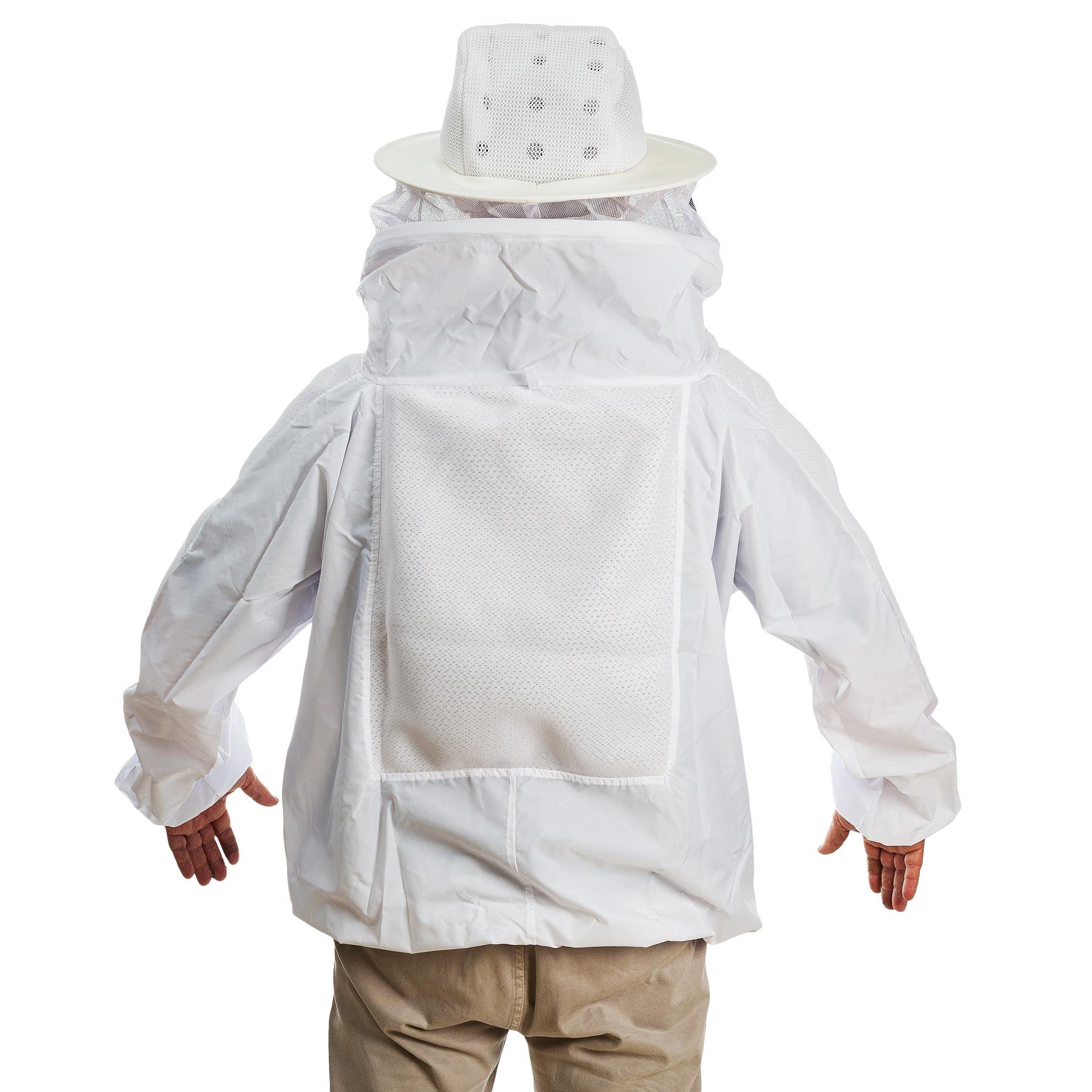 Jaleco para apicultura em Nylon com ventilação e máscara destacável de tela preta