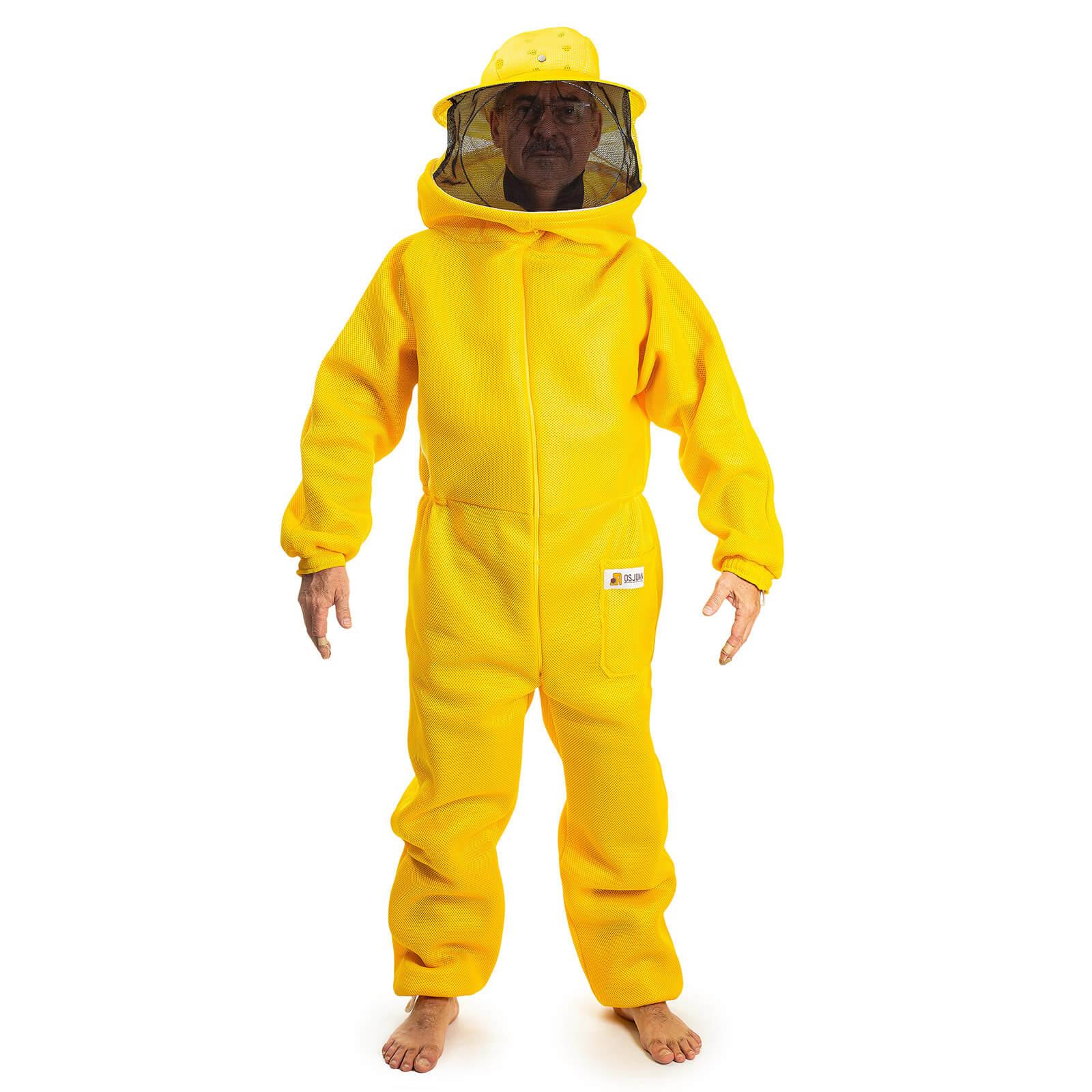 Macacão para apicultura em malha livre amarelo com máscara destacável e tela preta