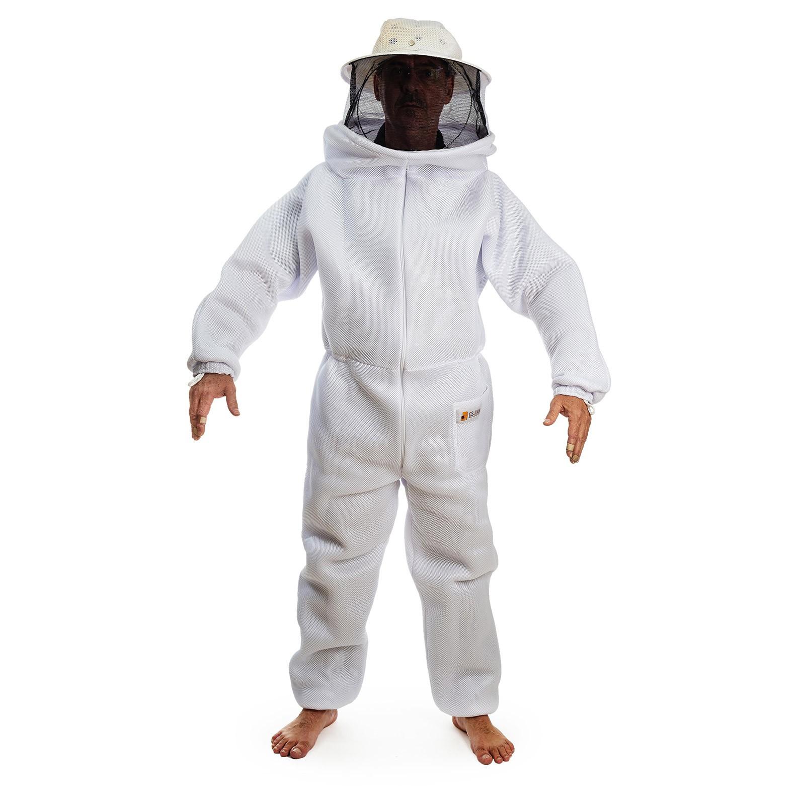 Macacão para apicultura em malha livre branco com máscara destacável e tela preta