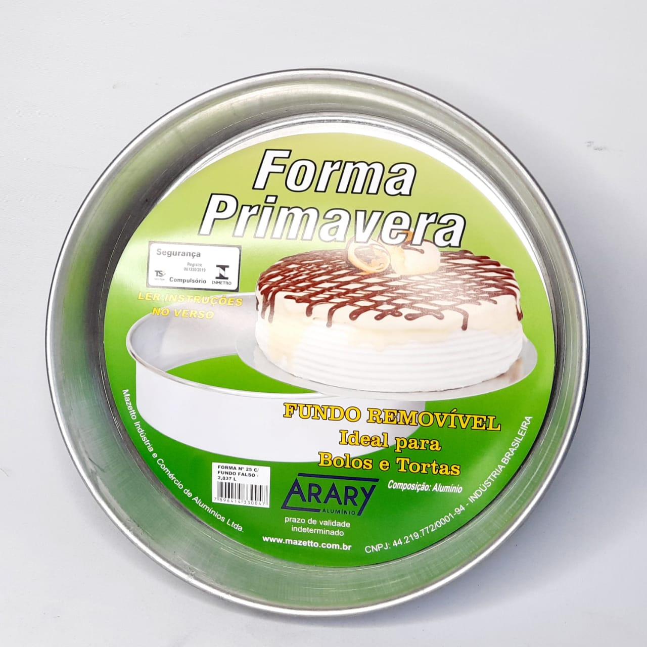 Assadeira Alumínio Redonda Fundo Falso N 25 Arary