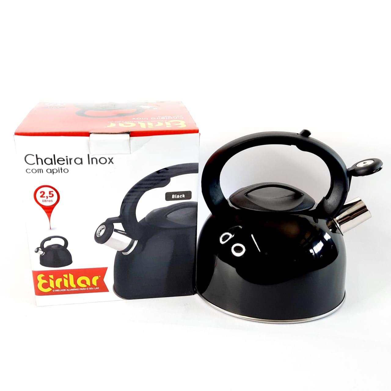 Chaleira Inx Black C/Apito 2,5 Litros Eirilar