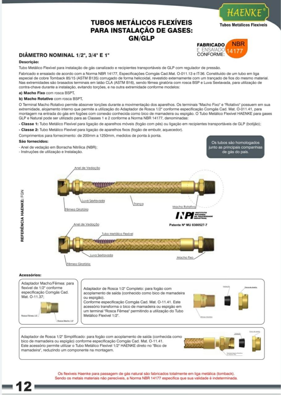 Flexível Tipo COMGÁS 1/2 1200mm Haenke