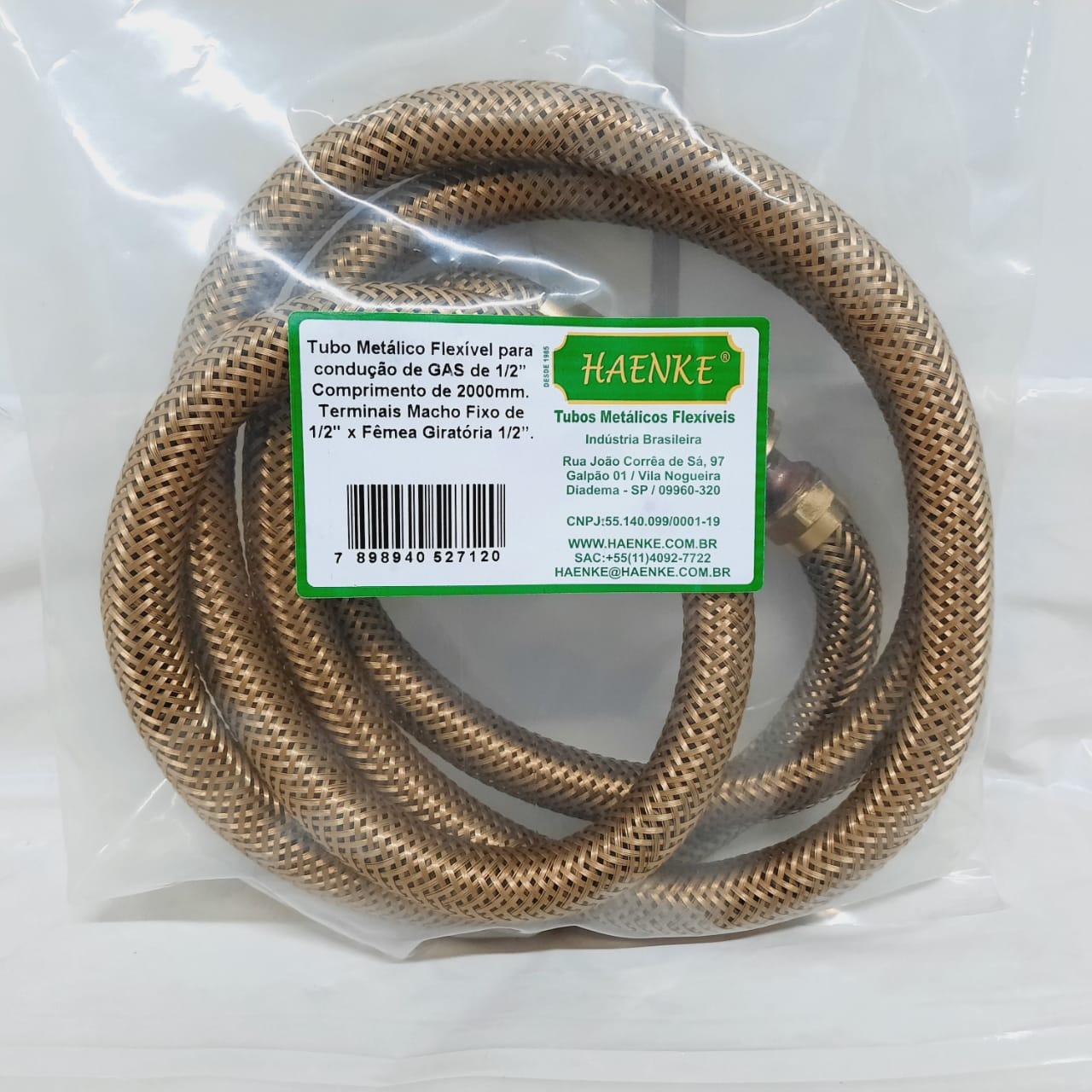 Flexível Tipo COMGÁS 1/2 2000mm Haenke