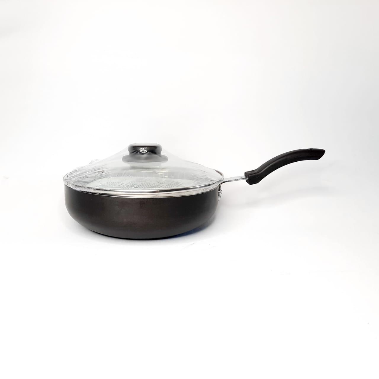Frigideira Alumínio Antiaderente  wok c/tampa de vidro  N 24 Arary