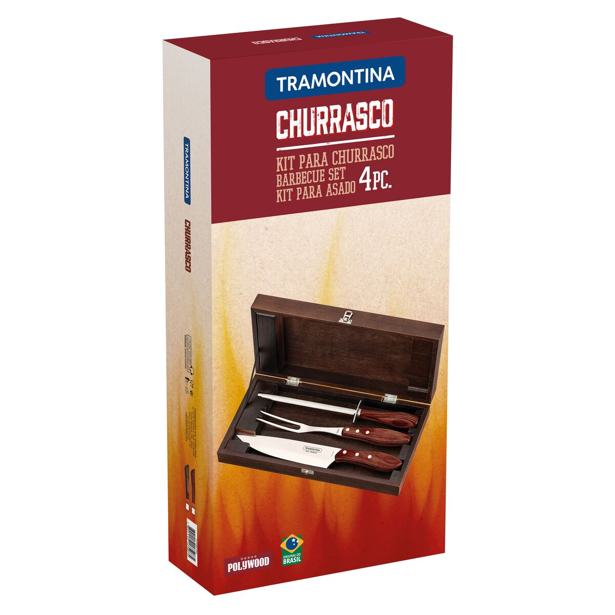 Kit para Churrasco Tramontina Polywood com estojo 4 peças