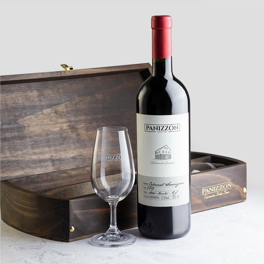 Caixa de Madeira + Duas Taças ISO + Panizzon Cabernet Sauvignon