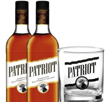 Duas garrafas Ape. Malt. Whisky Patriot + um copo Patriot