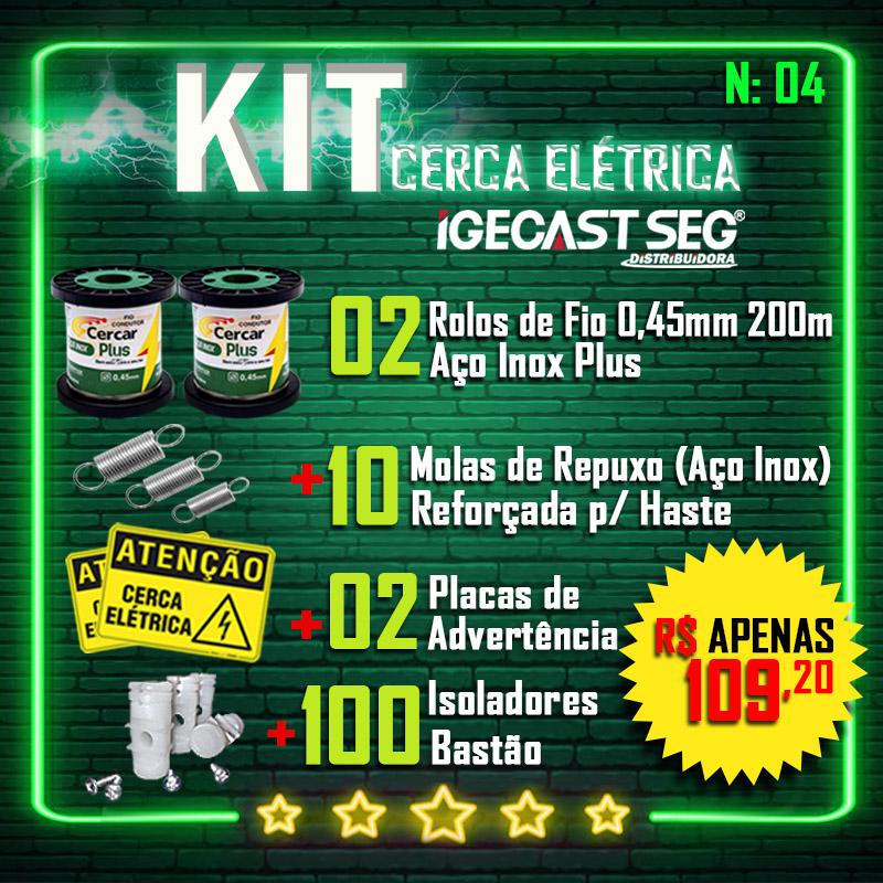 Kit Cerca Elétrica, 2 Rolos de Fios de Aço Inox Plus 0.45mm  de 200m + 10 Molas de Repuxo (Aço Inox) + 02 Placas de Advertência + 100 Isoladores Bastão