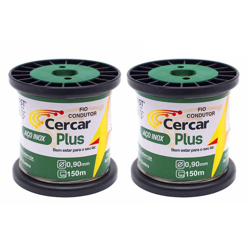 Kit Cerca Elétrica, 2 Rolos de Fios de Aço Inox Plus 0.90mm de 150m + 10 Molas de Repuxo (Aço Inox) + 02 Placas de Advertência + 100 Isoladores Castanha + 100 Isoladores W