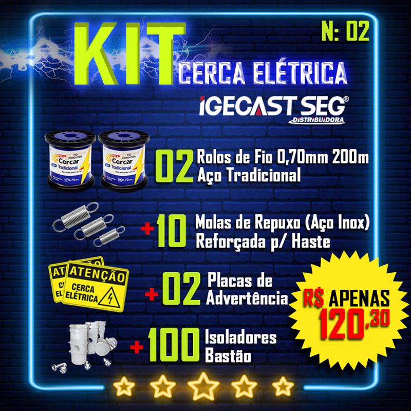 Kit Cerca Elétrica, 2 Rolos de Fios de Aço Tradicional 0.70mm de 200m + 10 Molas de Repuxo (Aço Inox) + 02 Placas de Advertência + 100 Isoladores Bastão