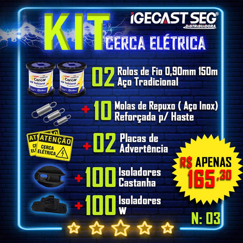 Kit Cerca Elétrica, 2 Rolos de Fios de Aço Tradicional 0.90mm de 150m + 10 Molas de Repuxo (Aço Inox) + 02 Placas de Advertência + 100 Isoladores Castanha + 100 Isoladores W