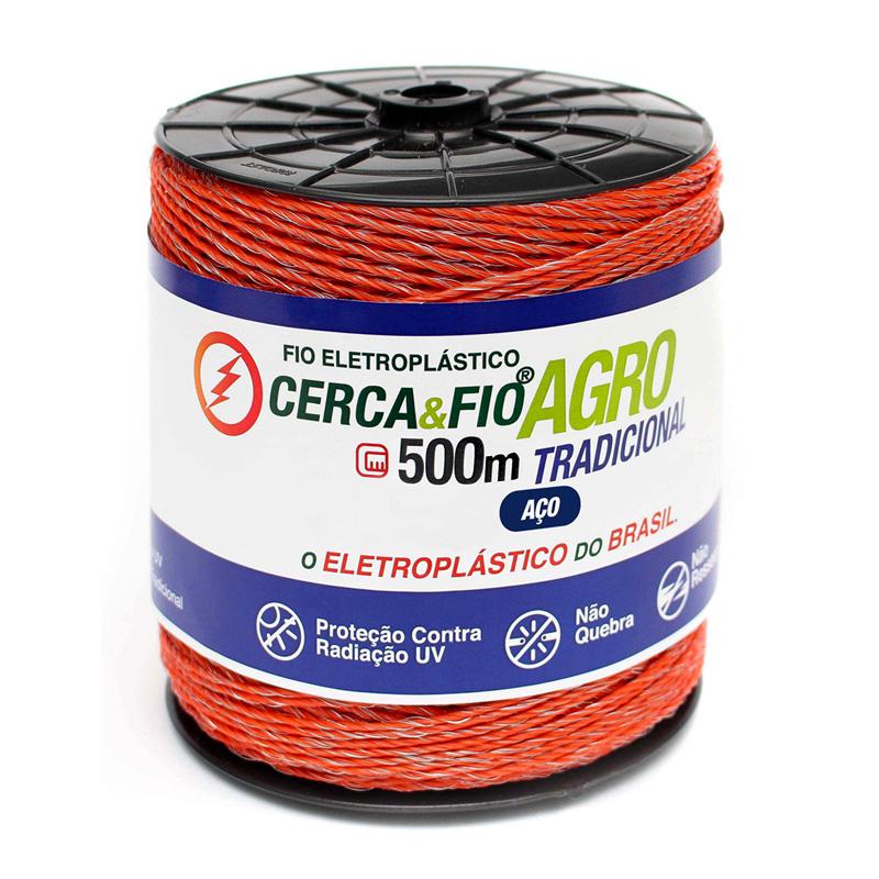 Kit Cerca Elétrica Agro. 01 Rolo de Fio 15x06 de 500m de Aço Tradicional + 10 Molas de Repuxo (Aço Inox) + 02 Placas de Advertência + 100 Isoladores Castanha + 100 Isoladores W