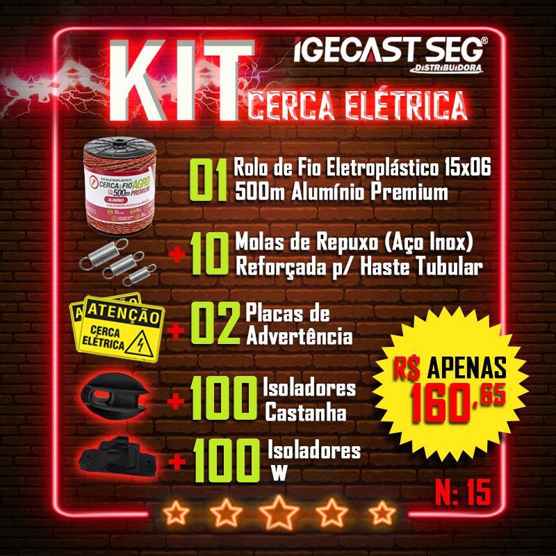 Kit Cerca Elétrica Agro. 01 Rolo de Fio 15x06 de 500m de Alumínio Premium + 10 Molas de Repuxo (Aço Inox) + 02 Placas de Advertência + 100 Isoladores Castanha + 100 Isoladores W