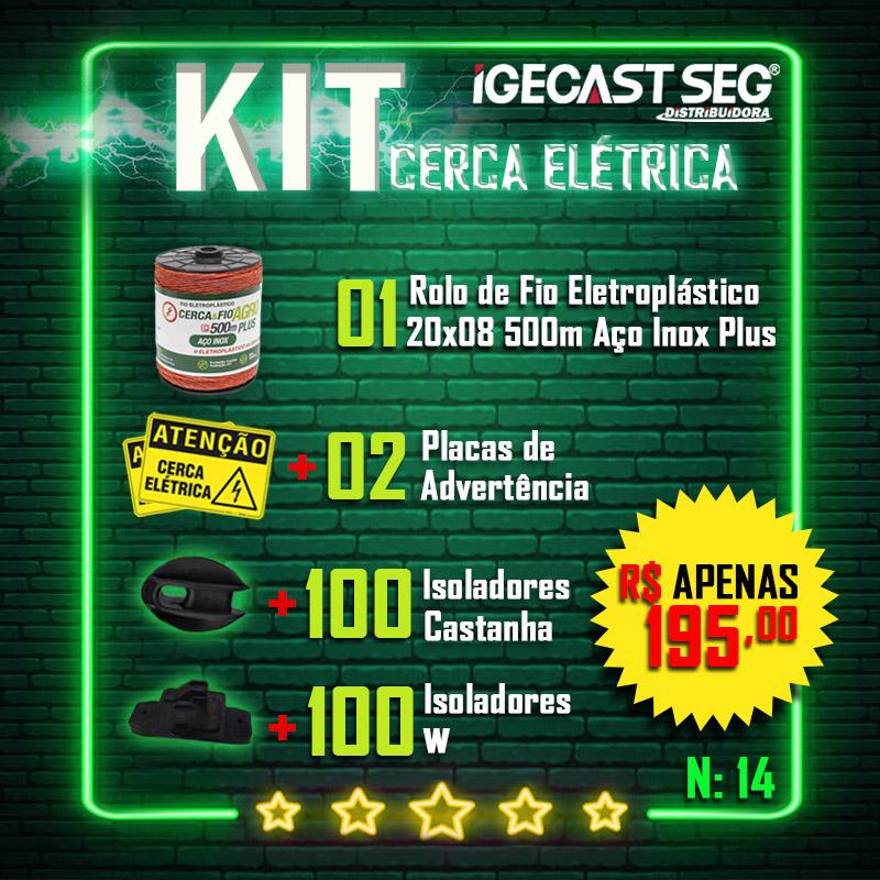 Kit Cerca Elétrica Agro. 01 Rolo de Fio 20x08 de 500m de Aço Inox Plus + 02 Placas de Advertência + 100 Isoladores Castanha + 100 Isoladores W