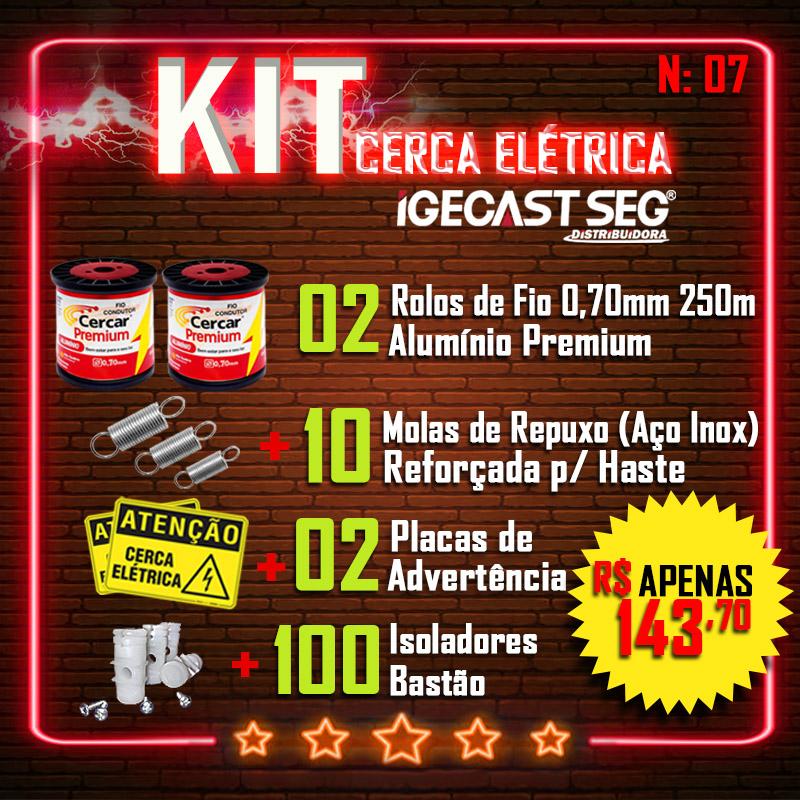 Kit Cerca Elétrica Residencial 02 Rolos de Fio Alumínio Premium 0,70mm de 250m + 10 Molas de Repuxo (Aço Inox) + 02 Placas de Advertência + 100 Isoladores bastão