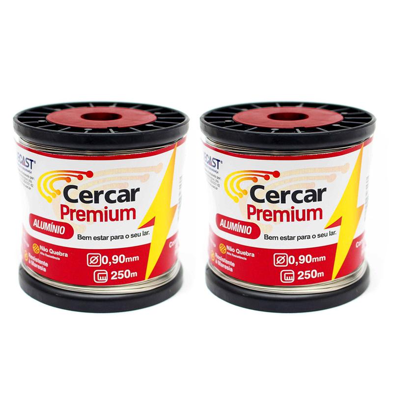 Kit Cerca Elétrica Residencial 02 Rolos de Fio Alumínio Premium 0,90mm de 250m + 10 Molas de Repuxo (Aço Inox) + 02 Placas de Advertência + 100 Isoladores Castanha + 100 Isoladores W