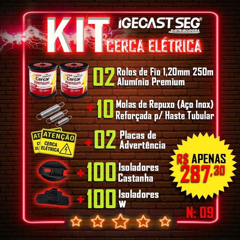 Kit Cerca Elétrica Residencial 02 Rolos de Fio Alumínio Premium 1,20mm de 250m + 10 Molas de Repuxo (Aço Inox) + 02 Placas de Advertência + 100 Isoladores Castanha + 100 Isoladores W