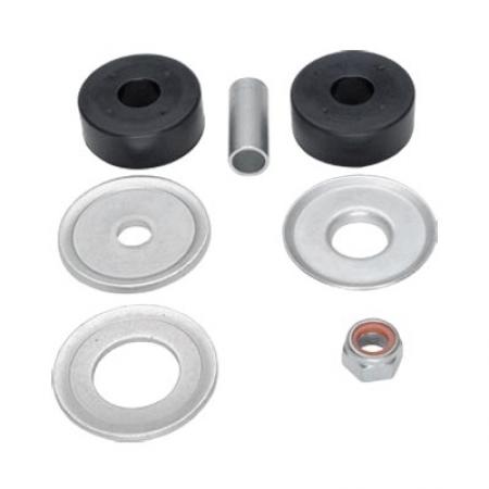 Conjunto de buchas com arruelas, tubo e porca superior e inferior do amortecedor de agulha do eixo da suspensão traseira.