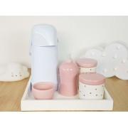 Kit Higiene Bebe Porcelana Poa cinza com rosa