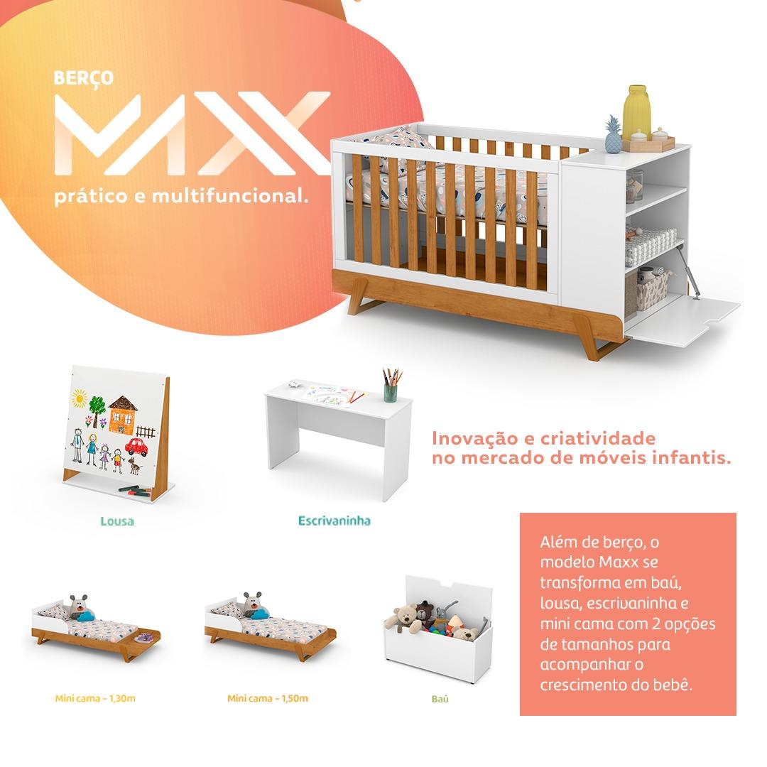 Berço Multifuncional Maxx Matic Off White  Feijo  com Ecoo Wood