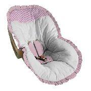 Capa Bebê Conforto Branca com Chevron Rosa