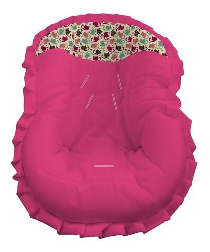 Capa Bebê Para Bebê Conforto Para Menina Pink Gatinhos Coloridos