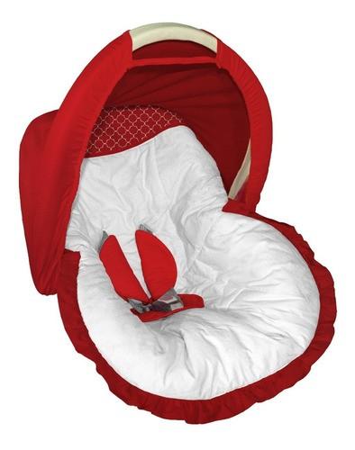 Capa Para Bebê Conforto Capota Branco E Vermelho