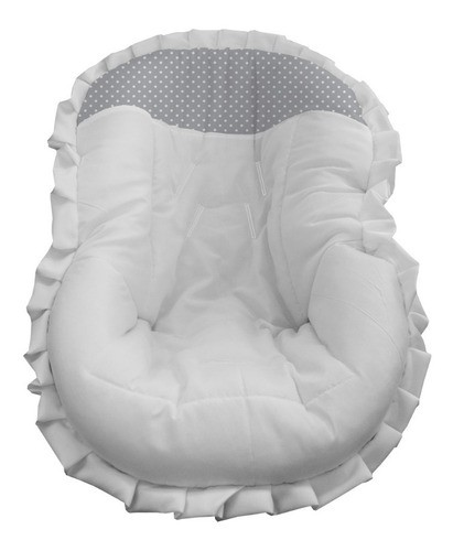 Capa Bebê Conforto Mais Barato Acolchoado Branco Poá Cinza