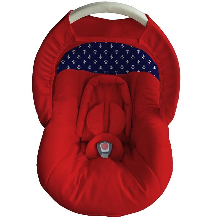 Capa Bebê Conforto Acolchoada Capota Protetor Vermelho Azul