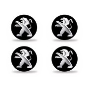 Jogo de Emblemas Resinados 48mm Peugeot  Para Calotas Rodas- Botom 4 Peças