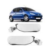 Par Maçaneta Interna Peugeot 206 Hatch 1998 a 2010 SW 2005 a 2008 Cromado