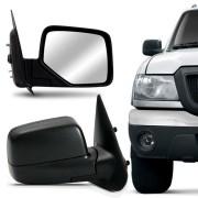 Retrovisor Fixo Externo Ford Ranger 2005 a 2009 Preto Espelho Sem Controle Interno