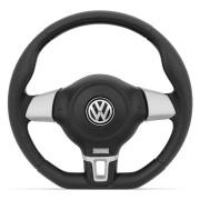 Volante Jetta Turbo VW Preto com Prata Gol/Voyage/Parati/Saveiro/Golf/Santana