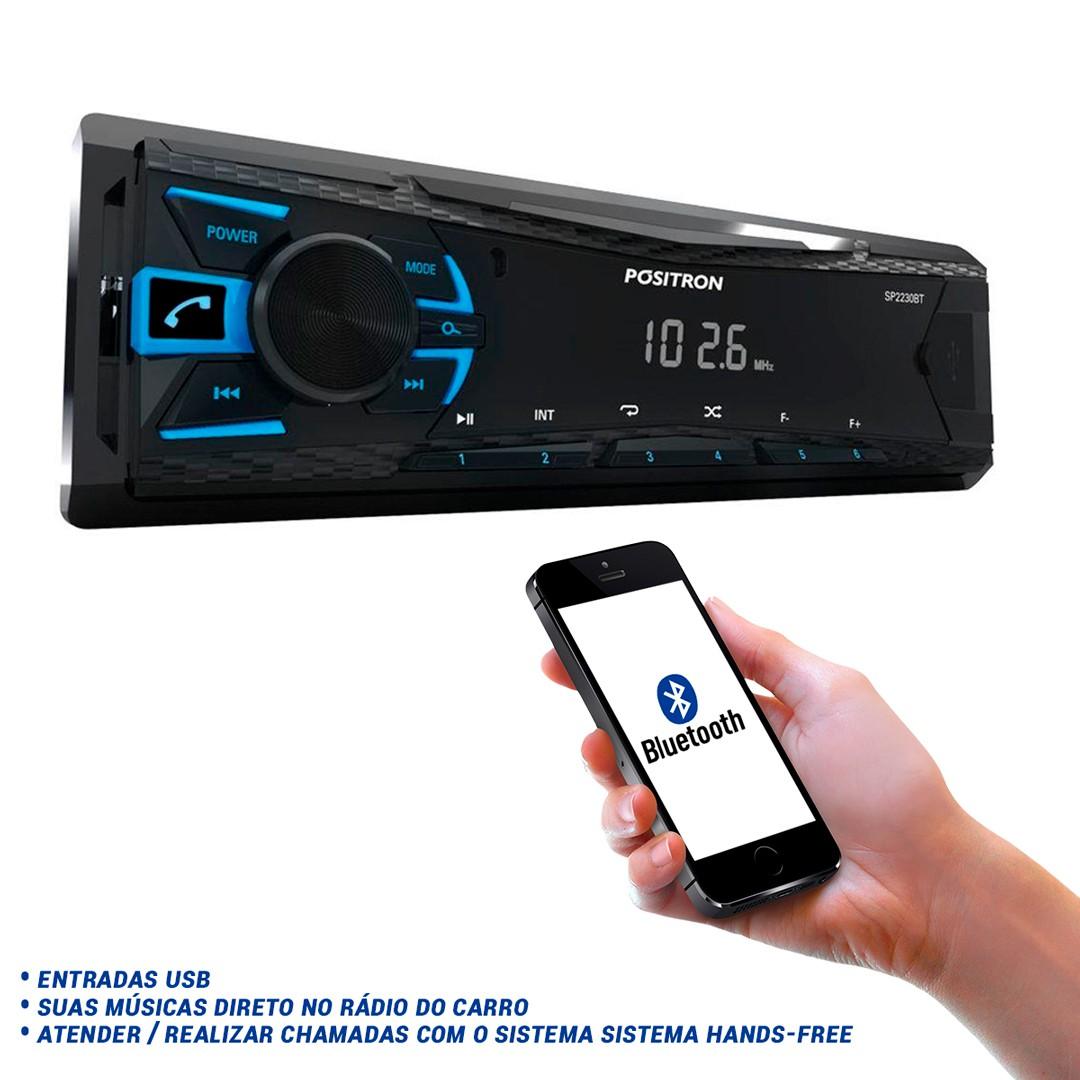 Auto Rádio Pósitron Bluetooth/Mp3 Player/Usb/Fm/Wma