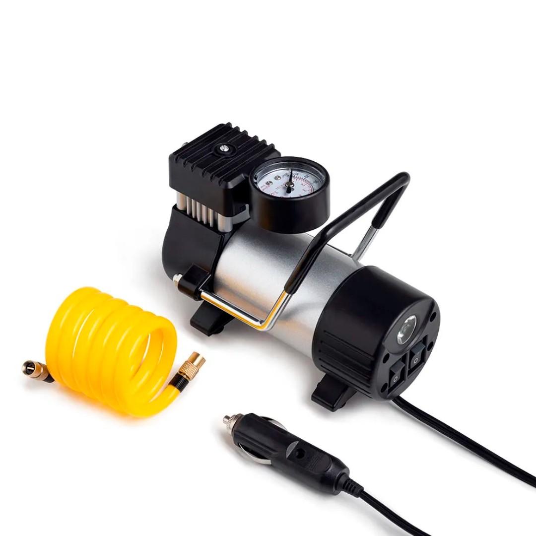 Compressor de Ar Automotivo 12V Cilindro Metálico 25L/min 150 PSI com Bicos e Lanterna Integrada Preto Multilaser