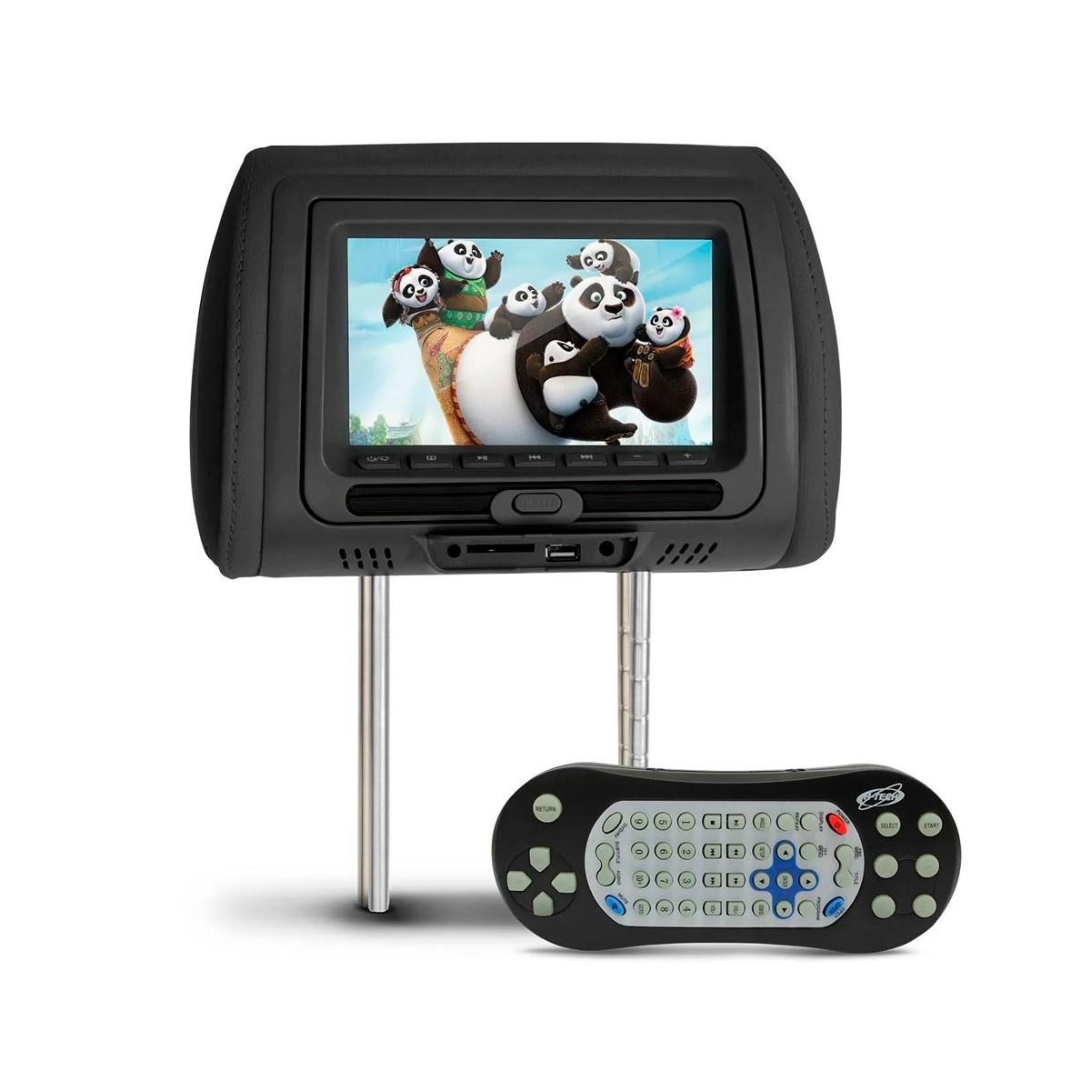 """DVD Encosto de Cabeça 7"""" Grafite - USB / SD Entrada áudio e vídeo"""