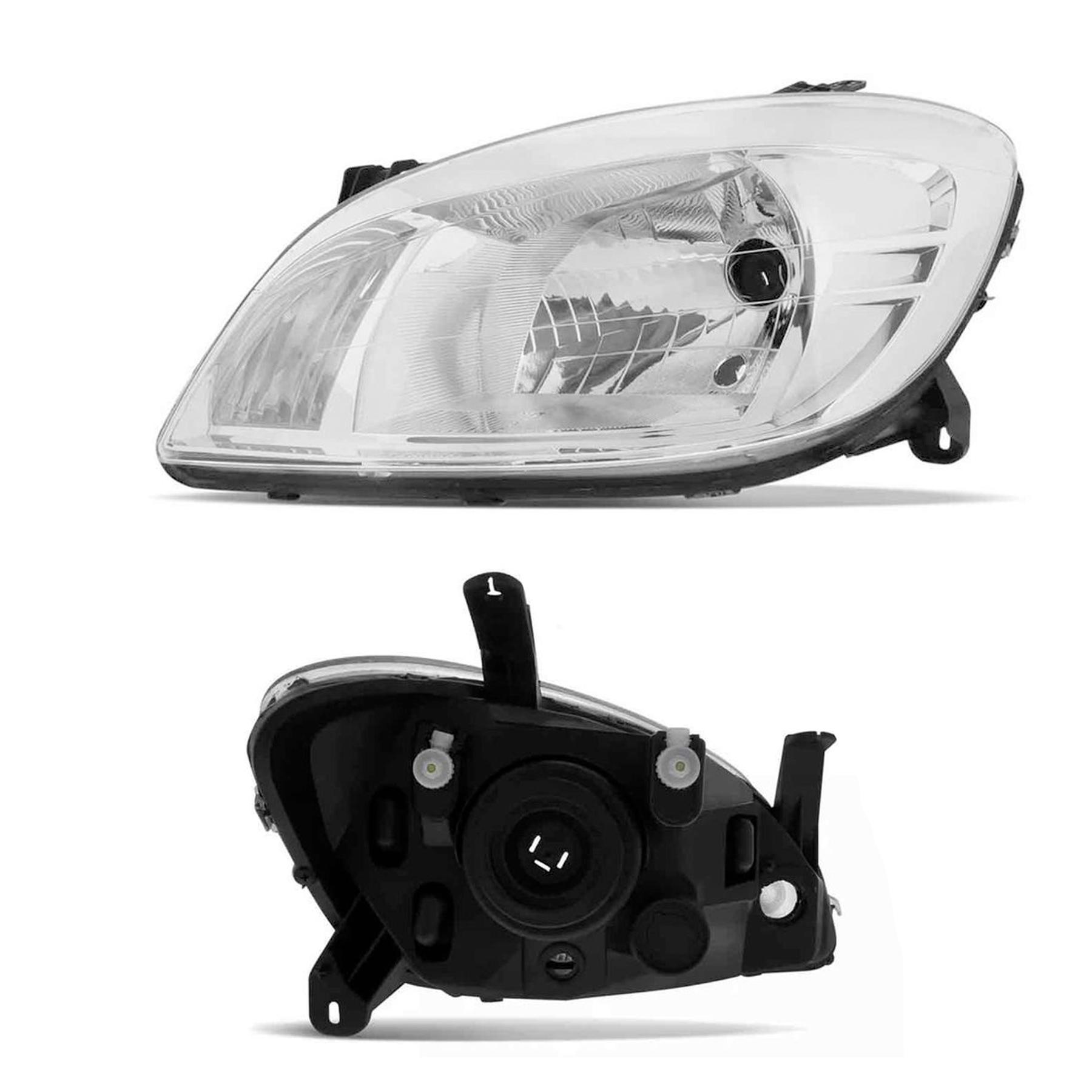 Farol Esquerdo Chevrolet Celta 2006 a 2015 Prisma 2007 a 2012 Cromado Foco Simples com Pisca Integrado arteb original