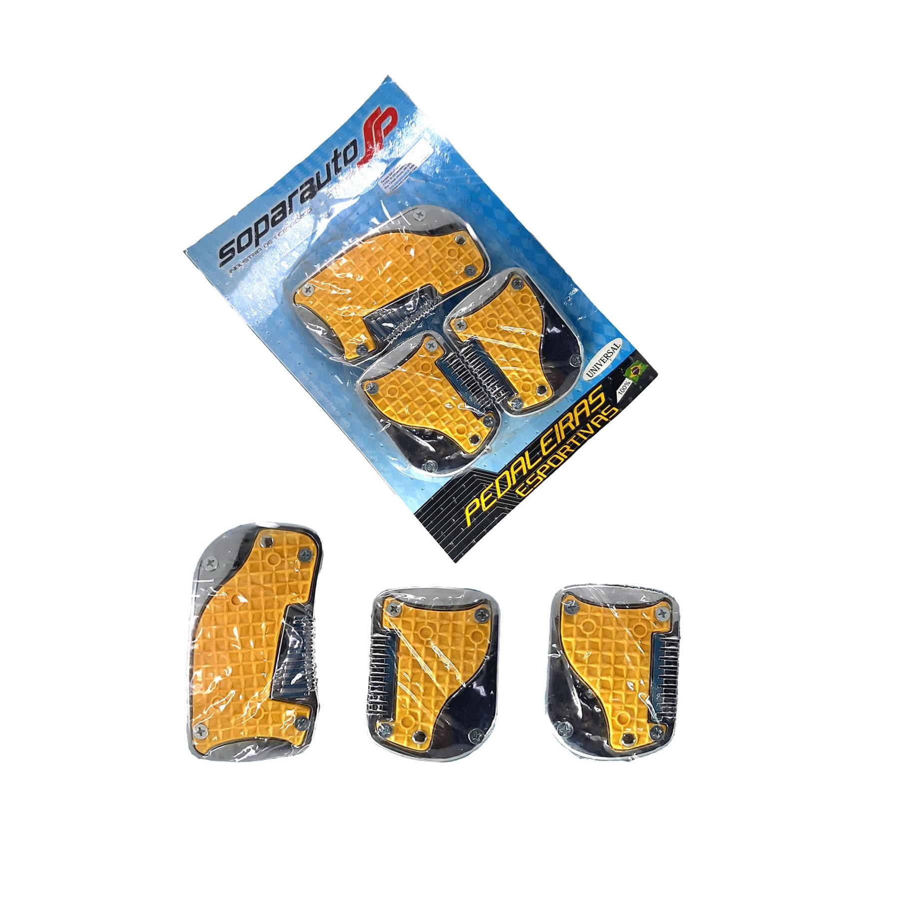 Jogo de Pedaleiras Amarelo com Cromado
