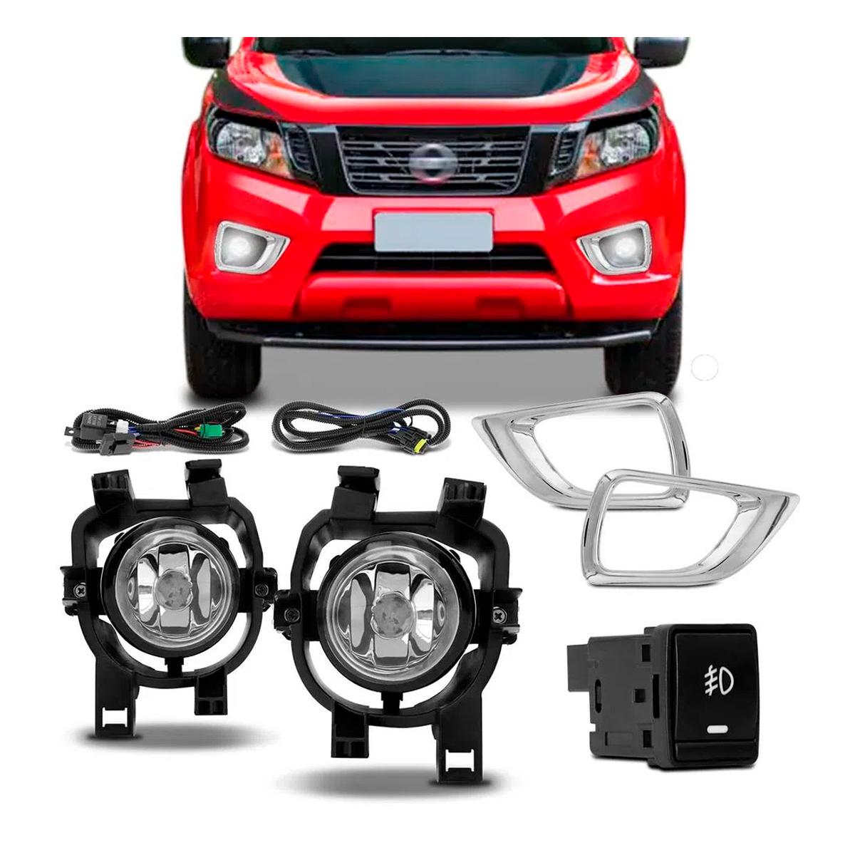 Kit Farol de Milha Nissan Frontier 2018 / 2019 Encaixe H11 com Botão Similar ao Original Auxiliar Neblina