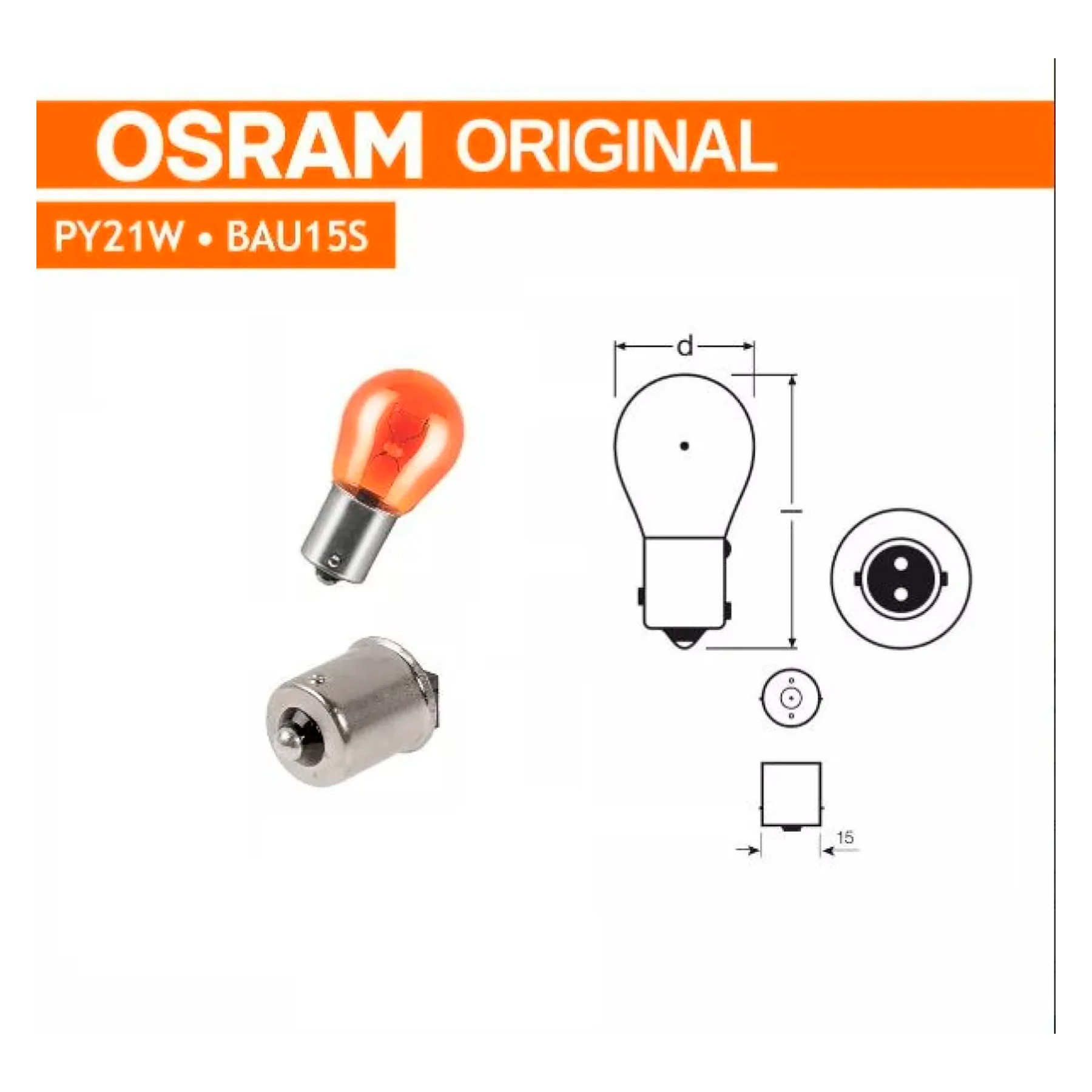 Lampada Miniatura PY21W Lanterna Ambar 21Watt 12Volts (1 Polo) Osram