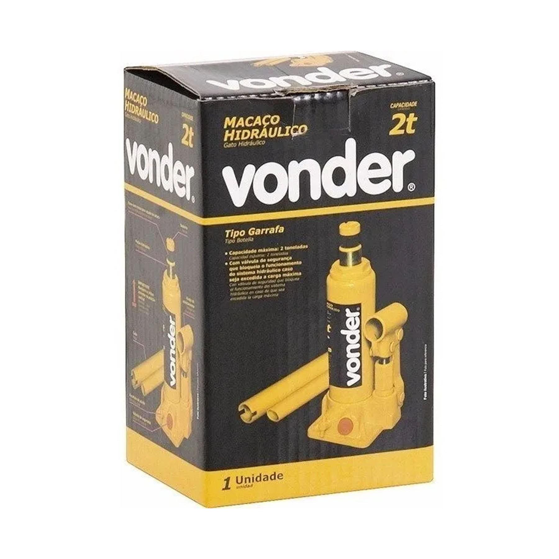 Macaco hidráulico tipo garrafa 2 toneladas (2 tf) VONDER