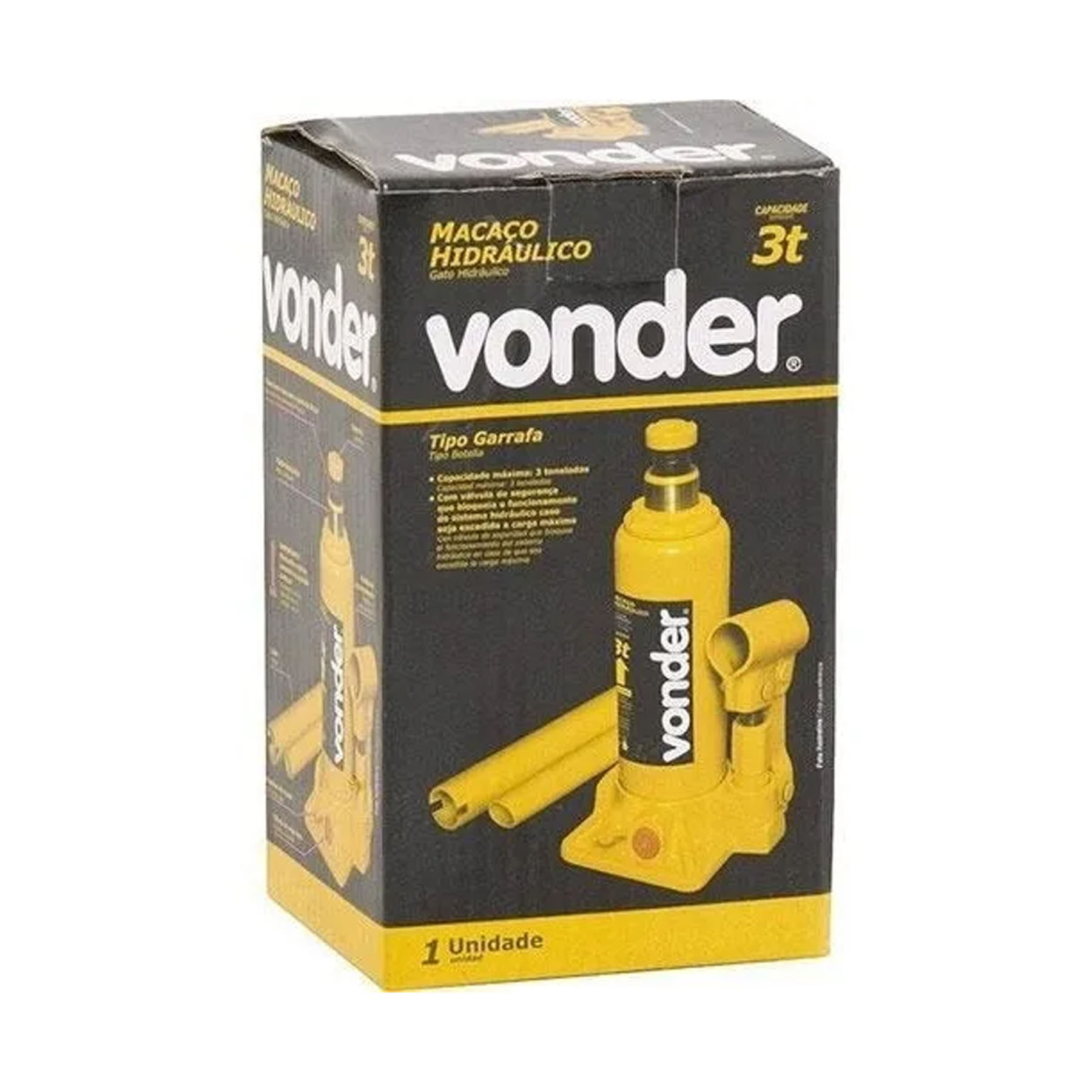 Macaco hidráulico tipo garrafa 3 toneladas VONDER