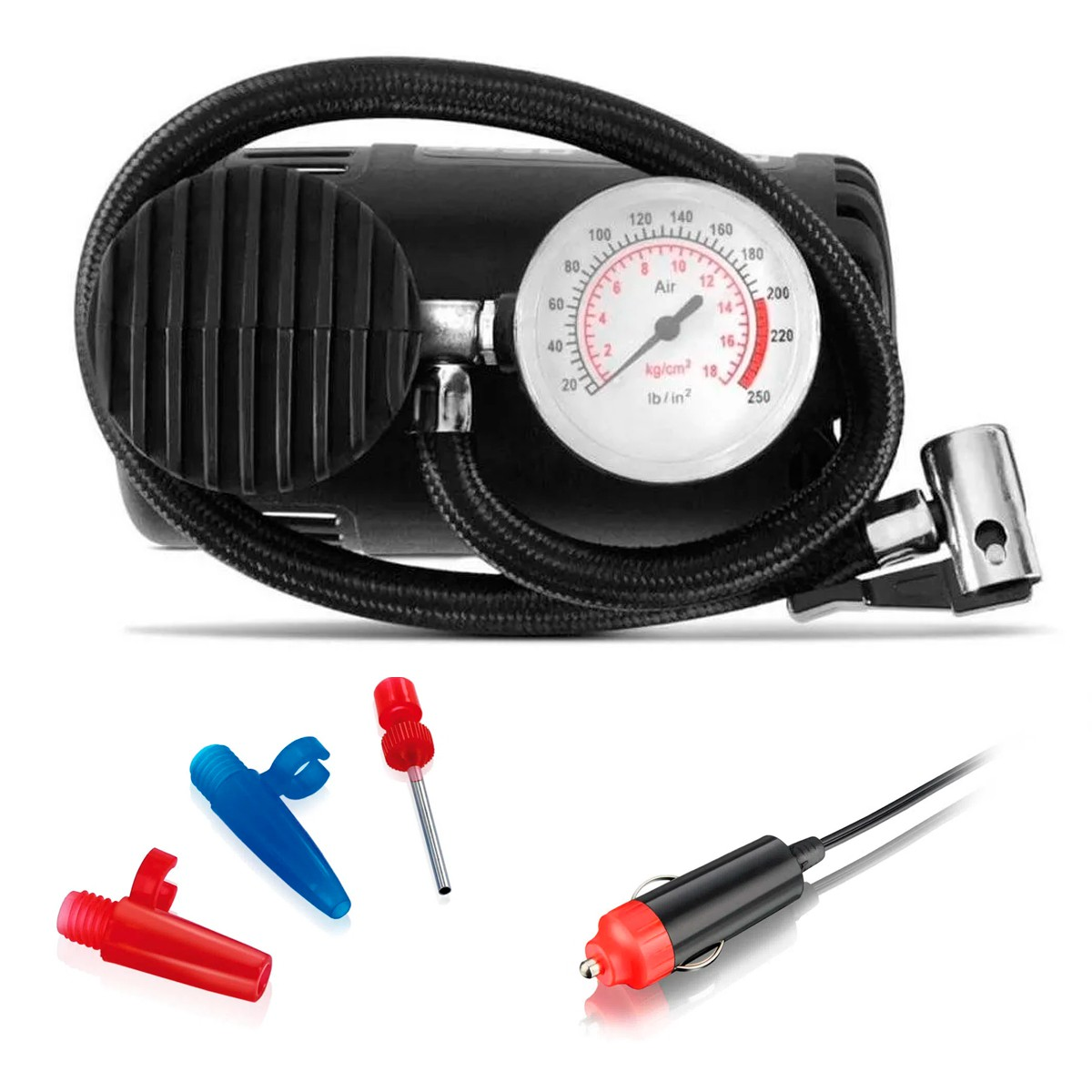 Mini Compressor Ar Automotivo Portátil 250psi Multilaser 12v