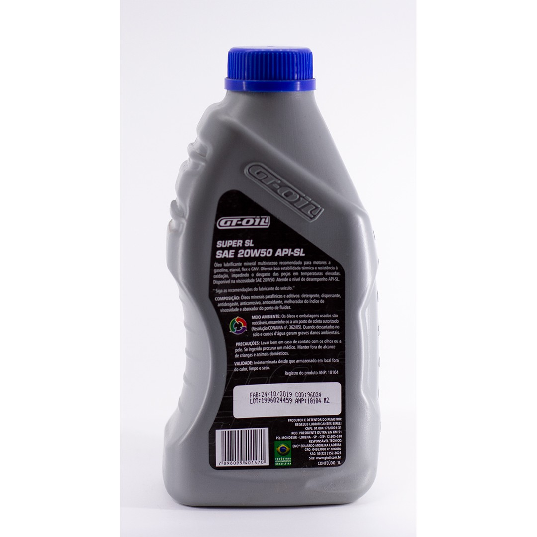Óleo Mineral Gt Oil 20w50 Sae Api Sl - 1 Litro